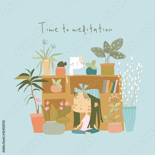 Fototapeta premium Cute girl doing yoga and meditation at home, sitting in lotus pose