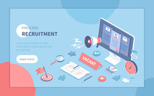 Recruitment Process. Human Resource Management And Hiring Concept. Choosing The Best Candidate, Search For A New Employee. Isometric Vector Illustration For Banner, Website.