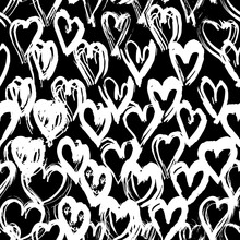 Seamless Pattern Black White Heart Brush Strokes Lines Design, Abstract Simple Scandinavian Style Background Grunge Texture. Trend Of The Season. Can Be Used For Gift Wrap Fabrics, Wallpapers. Vector