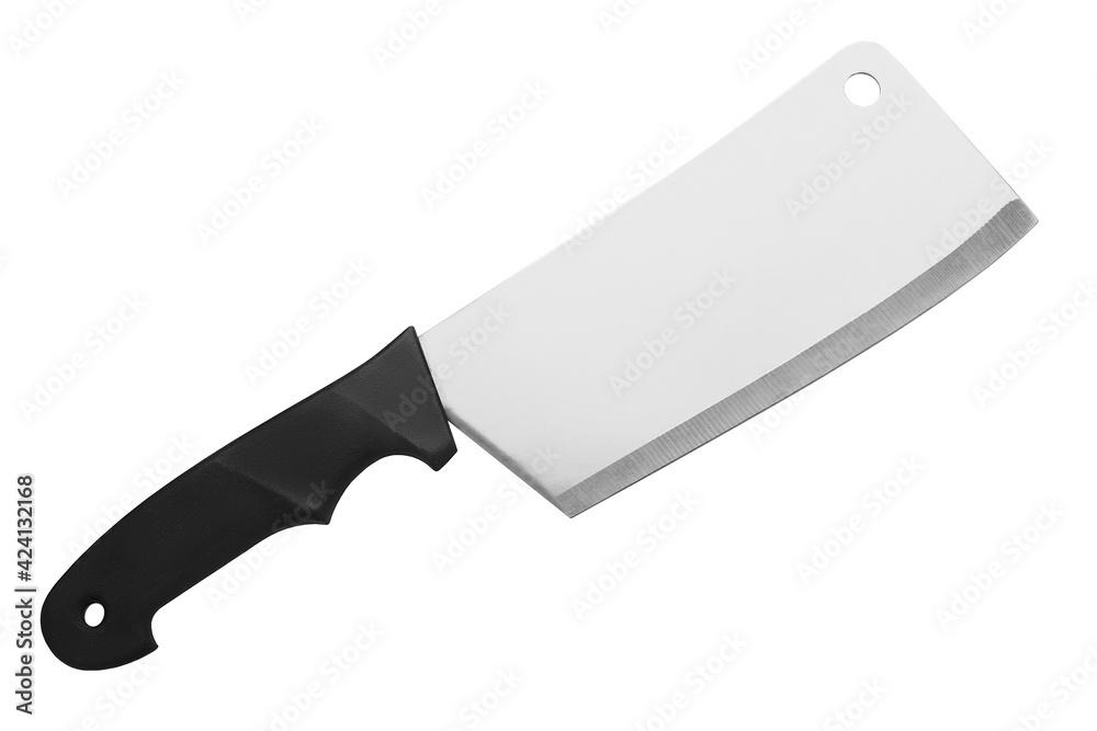 Fotografie, Obraz Steel cleaver knife black handle white background isolated closeup, big butcher
