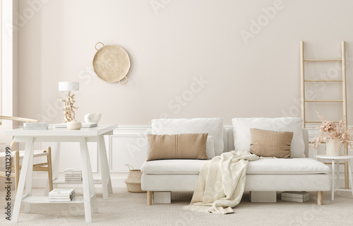 Wall mockup in office interior background, boho style, 3d render