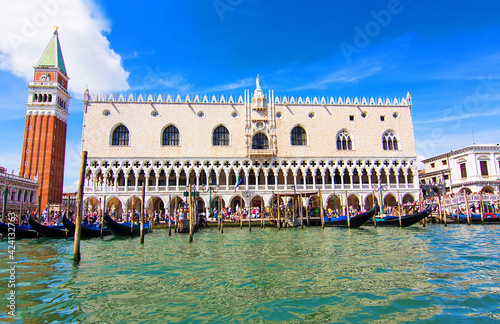 Tela Beautiful old Doge's palace and Campanile of Saint Mark's Cathedral on Piazza di San Marco, view from the the Grand Canale in Venice, Italy