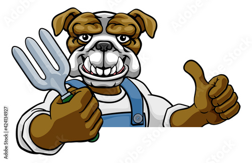 Obraz Bulldog Gardener Gardening Animal Mascot - fototapety do salonu
