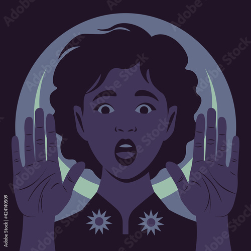 Obraz The African young woman with open palms forward. The shocked face. Gesture of stop. Fear and stress. Vector flat illustration - fototapety do salonu