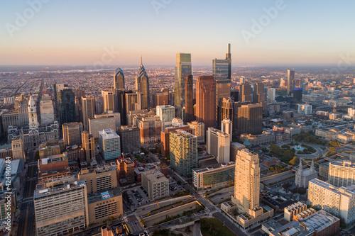 Photo Beautiful Sunset Skyline of Philadelphia, Pennsylvania, USA