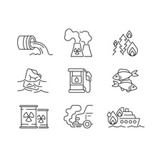 Water And Air Pollution Linear Icons Set. Environmental Diseases Factor, Industrial Contamination Idea Thin Line Illustration. Vector Isolated Outline Drawing. Editable Stroke