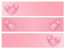 Paper Art And Craft Style Banner Set With Hearts. Cut Out Paper 3d Hearts Hanging On Chains On A Pink Background. Vector Illustration For Happy Women's Day, Mothers Day, Valentine's Day, Birthday Gree