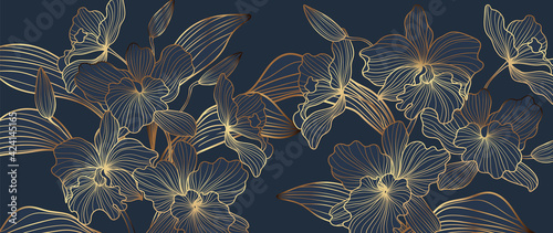 Obraz Luxury Gold orchid background vector. Golden orchid line arts design for wallpaper, wall arts, fabric, prints and background texture, Vector illustration. - fototapety do salonu