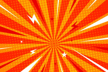 Flat Design Comic Style Background, Orange Sunburst Background