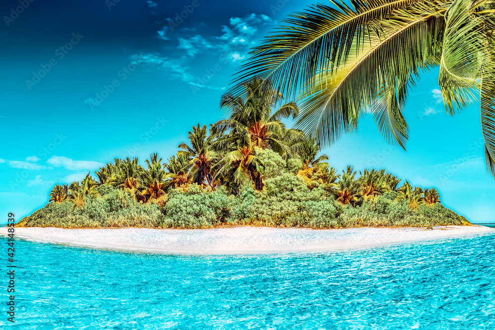 Fototapeta Whole tropical island within atoll in tropical Ocean.