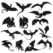 Dragon Silhouette Vector Illustration Clip Art Magic Animal Design Vector.