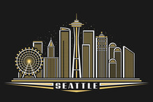 Vector Illustration Of Seattle, Horizontal Poster With Outline Design Illuminated Seattle City Scape, American Urban Line Art Concept With Decorative Lettering For Word Seattle On Dark Dusk Background