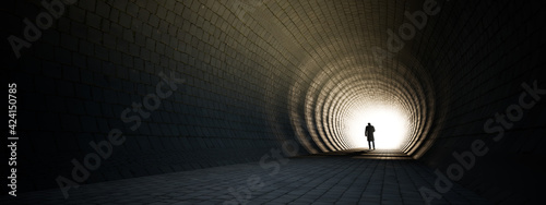 Slika na platnu Concept or conceptual dark tunnel with a bright light at the end or exit as meta