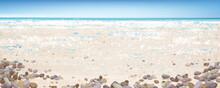 Vector  Ocean Background. Blue  Sky,  Ocean, Sandy Beach And Stones.