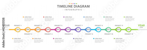 Infographic template for business. 12 Months modern Timeline diagram calendar, presentation vector infographic.