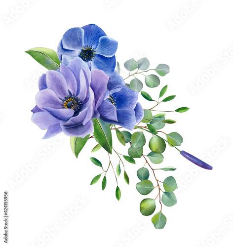 Fotografiet Watercolor violet flowers clipart