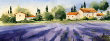 Provence Landscape, Watercolor Illustration. Lavender Fields, Mountains, Rustic Houses, Trees.