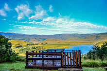 Drakensberg Mountain Escarpment And Bell Park Dam Around Cathkin Park In Kwazulu Natal South Africa
