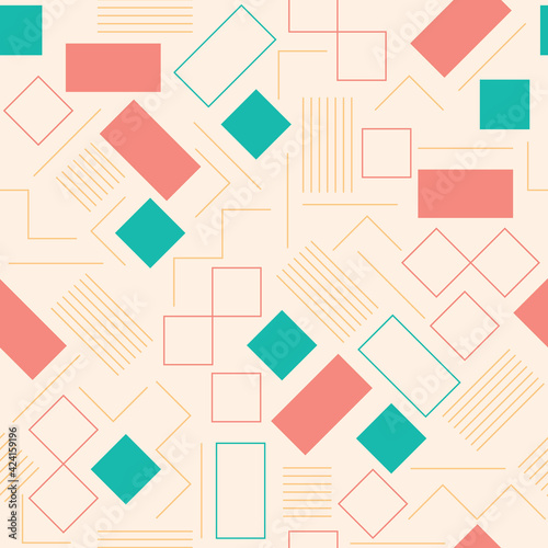 Canvas Print Seamless pattern vector design with a set of geometric squares and rectangles wi