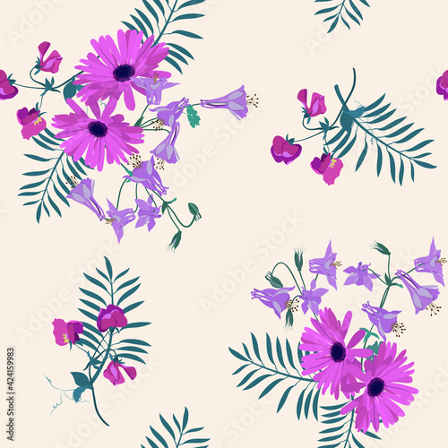 Fotografiet Seamless vector illustration with gerberas, sweet pea and aquilegia on a pink background