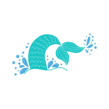 Hand Drawn Silhouette Of Mermaid's Tail. Illustration Isolated On White Background. Graphic Tattoo.