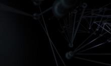 Molecule Dark Background With In Space. Modern Design. Dark Matter. 3d Render