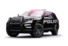 3d SUV Police Car On White Background