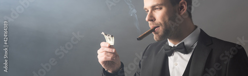 Fototapeta successful businessman smoking cigar and holding burned dollar banknote on grey background with smoke, banner obraz