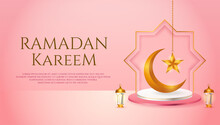 3d Product Display Pink And White Podium Themed Islamic With Crescent Moon, Lantern And Star For Ramadan