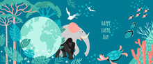 Happy Earth Day Banner With Globe, Plants And Animals.