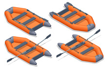 Isometric Set Icons Of Orange Rubber Inflatable Boat. Inflatable Rubber Boat For Recreation And Travel On The Water