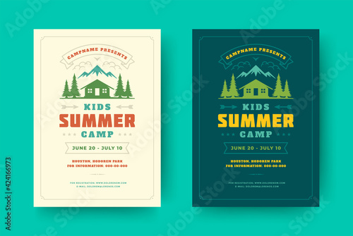 Fotografia Kids summer camp poster or flyer event retro typography design template and fore