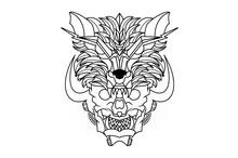Hand Drawing Illustration Of Black White Horned Skull Head Graphics