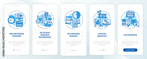 Obraz Remote event content onboarding mobile app page screen with concepts. Recorded, live meetings walkthrough 5 steps graphic instructions. UI, UX, GUI vector template with linear color illustrations - fototapety do salonu