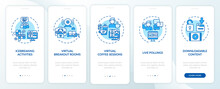 Remote Events Success Tips Onboarding Mobile App Page Screen With Concepts. Games, Polls Walkthrough 5 Steps Graphic Instructions. UI, UX, GUI Vector Template With Linear Color Illustrations