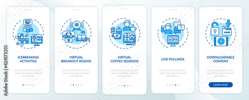 Fototapeta Remote events success tips onboarding mobile app page screen with concepts. Games, polls walkthrough 5 steps graphic instructions. UI, UX, GUI vector template with linear color illustrations obraz
