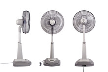 Three Floor Electric Fans, Adjustable Height And Low, Isolated On White Background. Side, Back, And Front View.