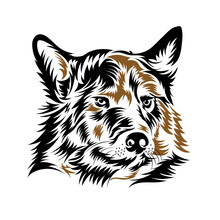 Wolf Face Logo In Vector Wood Cut Style