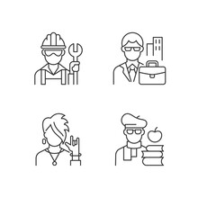 Social Classification Linear Icons Set. Blue And White Collar Workers. Classes In Society. Customizable Thin Line Contour Symbols. Isolated Vector Outline Illustrations. Editable Stroke