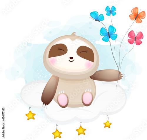 Fototapeta premium Cute doodle sloth sit on the clouds cartoon character Premium Vector