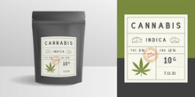 Cannabis Zip Package, Pouch Mockup. Vintage Trendy Label, Sticker Template. Marijuana Zip Package Design. Zipper Mockup Template For Logo, Brand, Sticker, Label. Vector Illustration