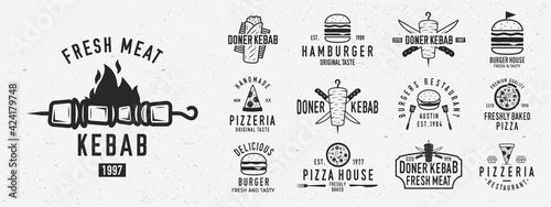Fotografiet Vintage fast food logo set