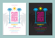 Summer Party Poster Or Flyer Design Template Modern Clean Style.
