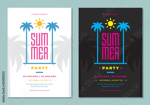 Summer party poster or flyer design template modern clean style. - fototapety na wymiar