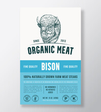 Organic Meat Abstract Vector Packaging Design Or Label Template. Farm Grown Bison Steaks Banner. Modern Typography And Hand Drawn Buffalo Head Silhouette Background Layout With Soft Shadow