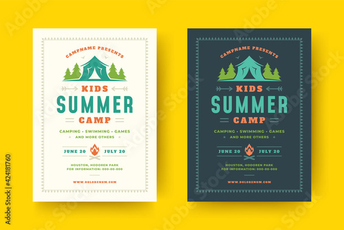 Carta da parati Kids summer camp poster or flyer event retro typography design template and fore