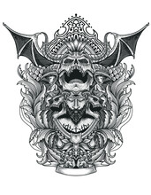 Scary Devil Skull With Vintage Engraving Ornament Style