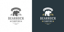 Bear Logo Emblem Vector Illustration Silhouette For Shirt Or Print Stamp