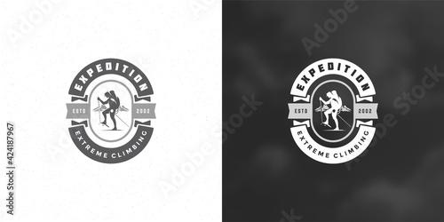 Fototapeta Climber logo emblem outdoor adventure expedition vector illustration mountaineer