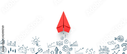 Red paper plane and business strategy on white background, Business success, innovation and solution concept
